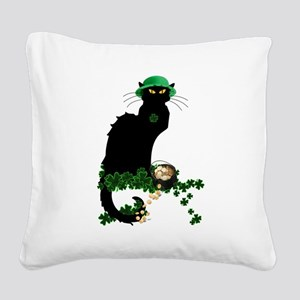 Le Chat Noir, St Patricks Day Square Canvas Pillow