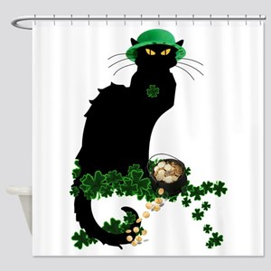 Le Chat Noir, St Patricks Day Shower Curtain