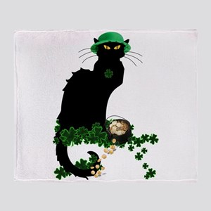 Le Chat Noir, St Patricks Day Throw Blanket