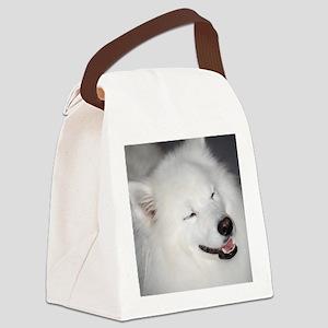 Sweet White American Eskimo Dog Canvas Lunch Bag