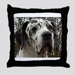 great dane harlequin Throw Pillow