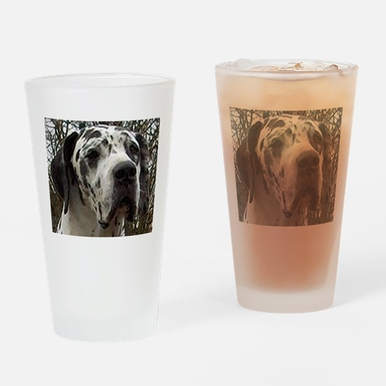 great dane harlequin Drinking Glass
