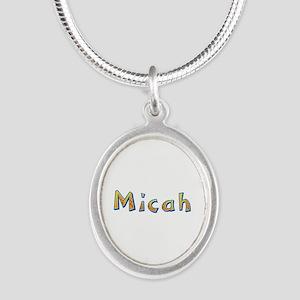 Micah Giraffe Silver Oval Necklace