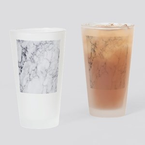 White & Gray Faux Marble Drinking Glass