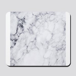 White & Gray Faux Marble Mousepad