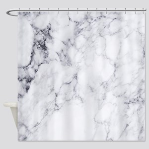 White & Gray Faux Marble Shower Curtain