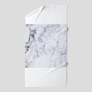 White & Gray Faux Marble Beach Towel