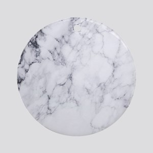 White & Gray Faux Marble Round Ornament