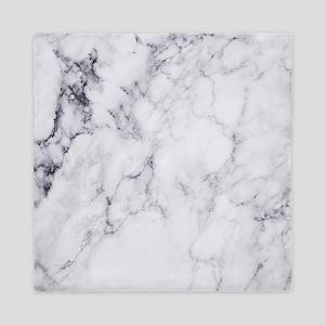 White & Gray Faux Marble Queen Duvet