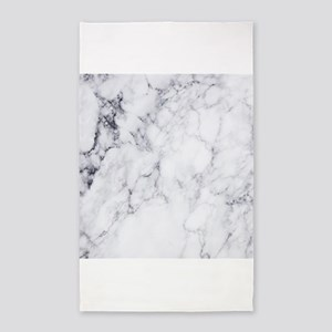 White & Gray Faux Marble Area Rug