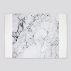 White & Gray Faux Marble 5'x7'Area Rug