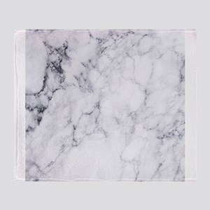 White & Gray Faux Marble Throw Blanket