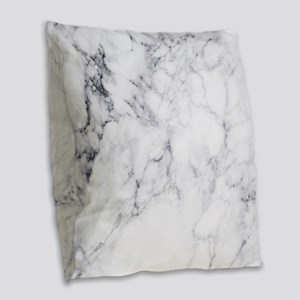 White & Gray Faux Marble Burlap Throw Pillow