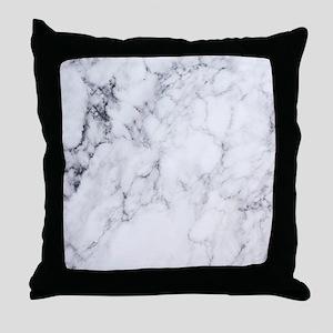 White & Gray Faux Marble Throw Pillow