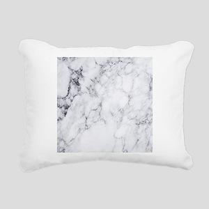 White & Gray Faux Ma Rectangular Canvas Pillow
