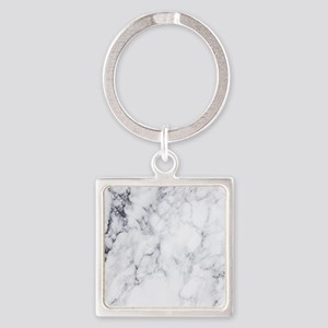 White & Gray Faux Marble Keychains