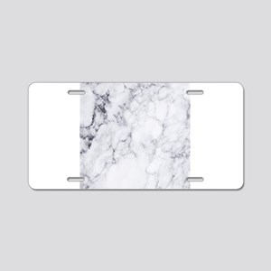 White & Gray Faux Marbl Aluminum License Plate