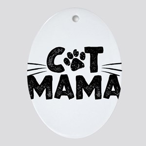 Cat Mama Oval Ornament