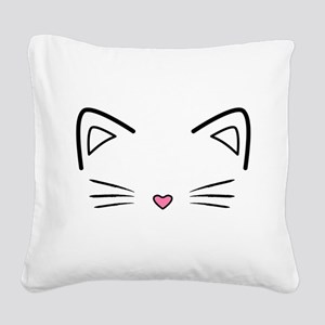 Cat Whiskers Square Canvas Pillow