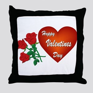 Heart and Roses Throw Pillow