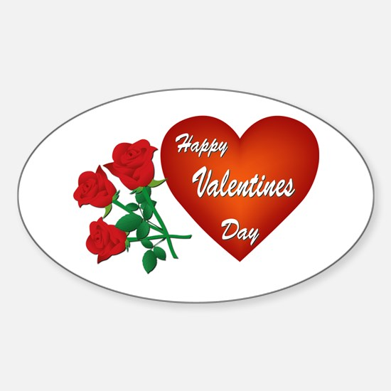 Heart and Roses Sticker (Oval)