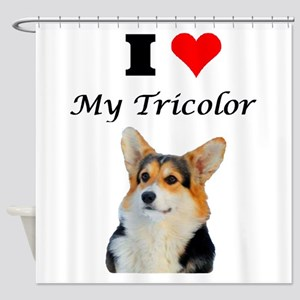 I love my Tricolor Corgi Shower Curtain
