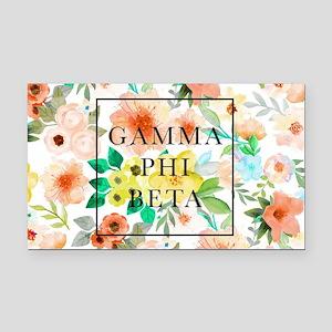Gamma Phi Beta Floral Rectangle Car Magnet