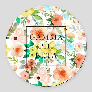Gamma Phi Beta Floral Round Car Magnet