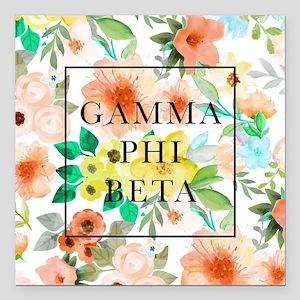 "Gamma Phi Beta Floral Square Car Magnet 3"" x 3"""
