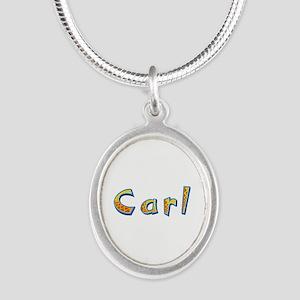 Carl Giraffe Silver Oval Necklace