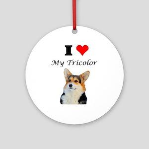 I love my Tricolor Corgi Ornament (Round)