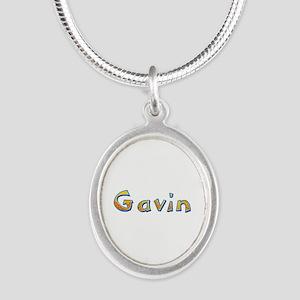 Gavin Giraffe Silver Oval Necklace