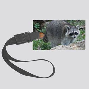 Fluffy Racoon Large Luggage Tag