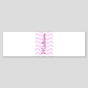 Customized name pink chevron Bumper Sticker