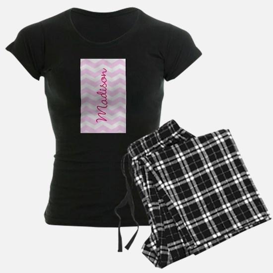Customized name pink chevron pajamas