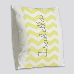Personalized yellow chevron Burlap Throw Pillow