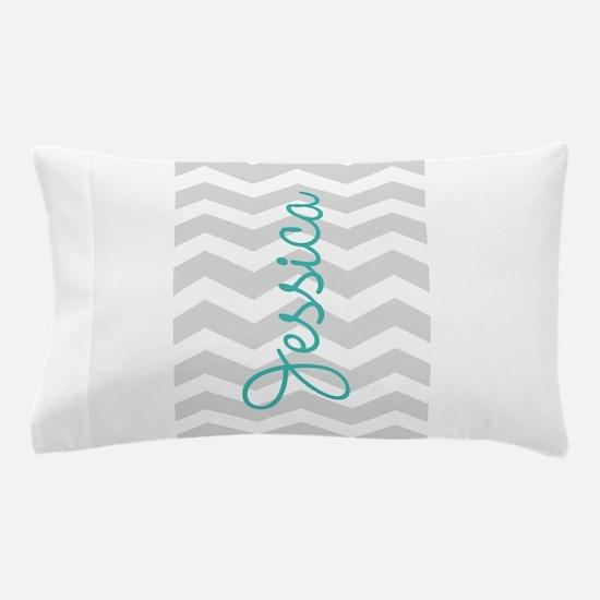 Custom name gray chevron Pillow Case
