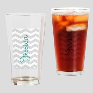 Custom name gray chevron Drinking Glass