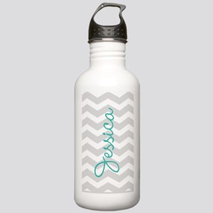 Custom name gray chevron Sports Water Bottle