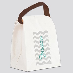Custom name gray chevron Canvas Lunch Bag