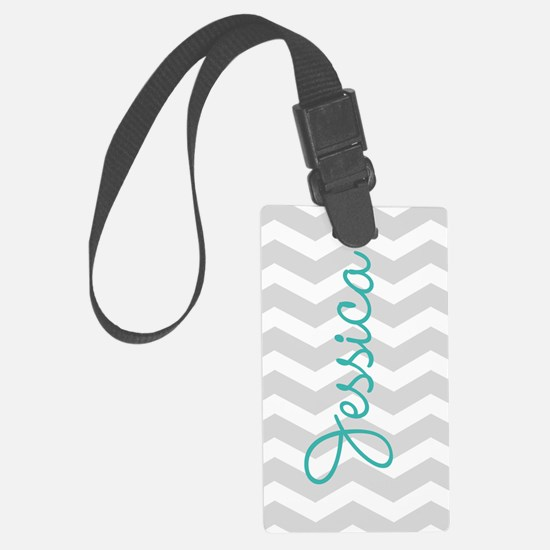Custom name gray chevron Large Luggage Tag