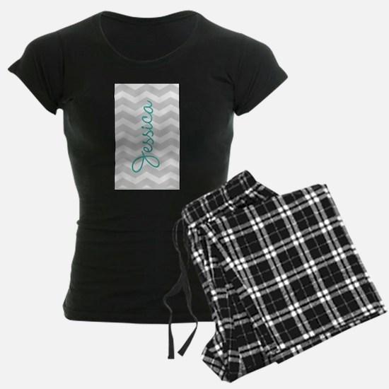 Custom name gray chevron pajamas
