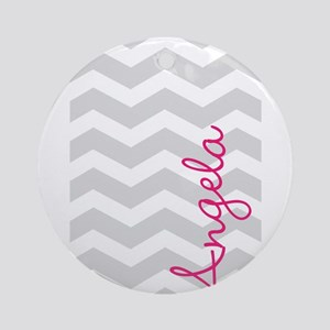 Personal name grey chevron Ornament (Round)