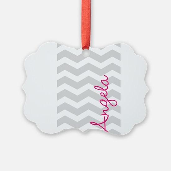 Personal name grey chevron Ornament