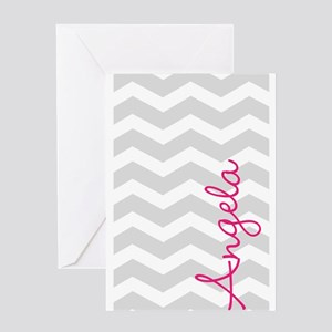 Personal name grey chevron Greeting Cards