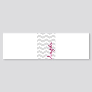 Personal name grey chevron Bumper Sticker