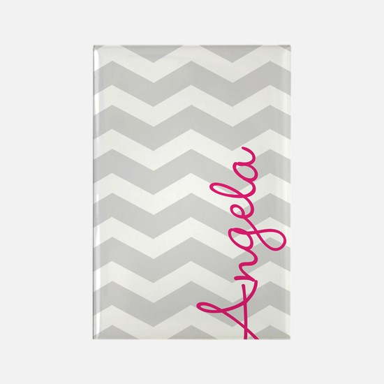 Personal name grey chevron Magnets