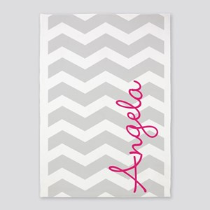 Personal name grey chevron 5'x7'Area Rug