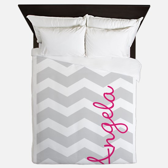 Personal name grey chevron Queen Duvet