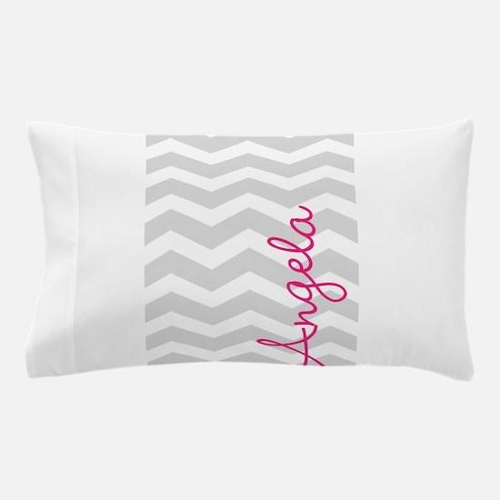 Personal name grey chevron Pillow Case
